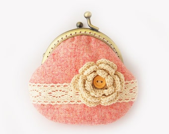 Lace and Crochet Flower Coin Purse Pastel hot pink