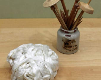 Cultivated Silk - Undyed Spinning Fiber (4oz)