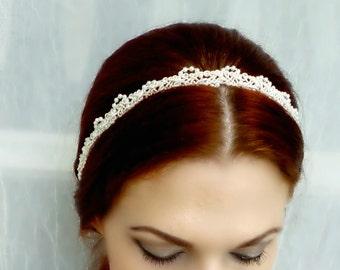 Ivory or White Pearl Beaded Vintage Style Headband - Bridal Wedding Victorian Headpiece