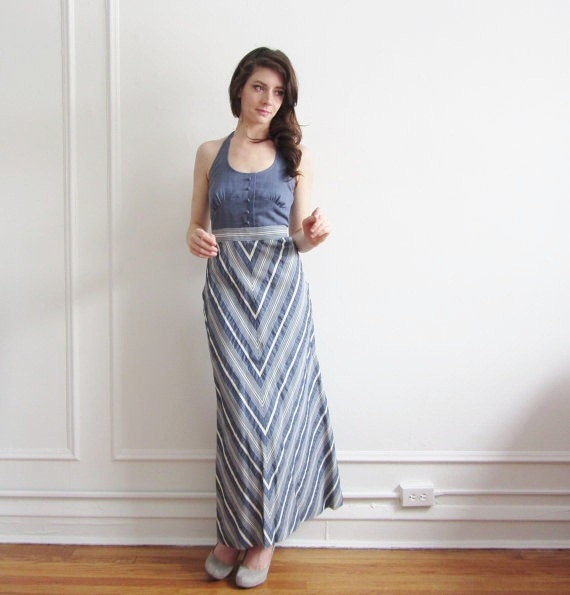 1970 hippie halter dress . chevron striped denim maxi .extra small xs .sale .disaster relief