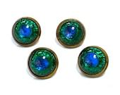 Czech PEACOCK EYE Foiled Glass Buttons - Magical Blue-Green Shimmer - Art Nouveau - Set of 4