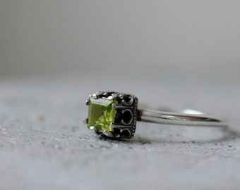 Peridot ring. Sterling silver ring with square stone. August birthstone. Made to order
