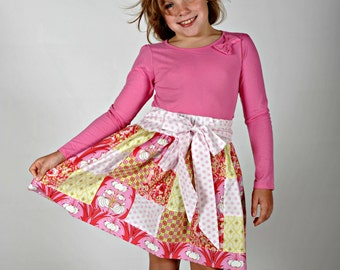 Girl's Patchwork Skirt, Girl Skirts, Pink Skirt, Toddler skirt, Twirly skirt, Back to School clothes, Skirts for Girls, size 2T 3 4 5 6 7 8