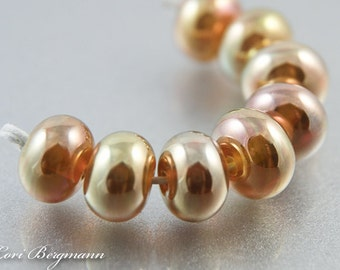 Metallic Gold Lampwork Spacer Beads, Handmade Glass Jewelry Supplies, Made to Order, SRA