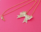 Bow Necklace - Cute Origami Silver Bow Pendant - Origami Jewelry - Silver Gift Bow Ribbon Necklace
