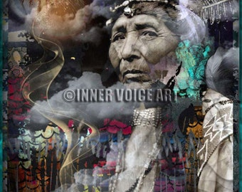 Telling Your Stories... Is Powerful Medicine ~ Original Design, Digital Collage Art Print