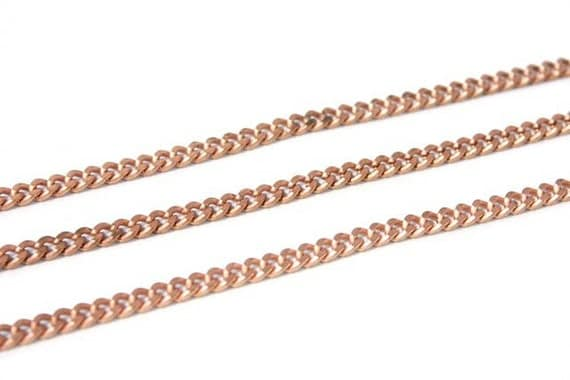 6 feet - Vintage Copper Faceted Flat Curb Chain