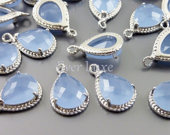 2 Periwinkle glass stone pendants with silver rope rim / stone pendants with silver frame 5054R-PW