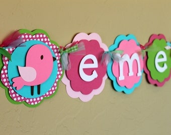 Birdie NAME Banner Hot Light Pink Polka Dot Green Turquoise Shabby Chic Birthday Party Decorations Bird Baby Shower Girl First