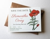 "Customizable Save the Date Cards with Poppy Flowers in Orange, Brown, Green and Cream, 4.25x5.5"" Cards with Kraft Envelopes"