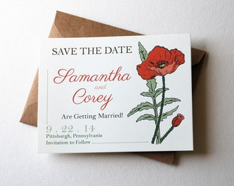 """Customizable Save the Date Cards with Poppy Flowers in Orange, Brown, Green and Cream, 4.25x5.5"""" Cards with Kraft Envelopes"""