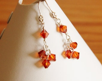 Swarovski crystal earrings dangle drop red orange magenta glass beads stylish classy classic modern elegant everyday sterling silver jewelry