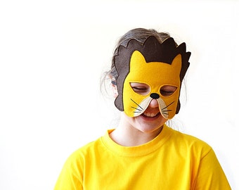 Lion Children Mask, Kids Carnival Mask, Mardi Gras Mask, Costume Accessory for Boys, Children Pretend Play Toy