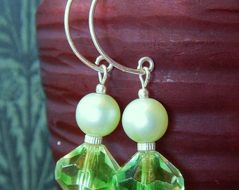 Green Envy Earrings - One-of-a-Kind, w Vintage Green Glass & Pearlized Round Beads, Sterling Accents and Handmade Sterling Silver Hoops
