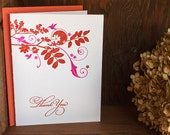 Letterpress Thank You Notes - Tropical flowers with hummingbird, orange pink blue grey  (set of 6)