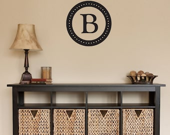Personalized Initial Circle Wall Decal - Last Name Initial Decal - Medium