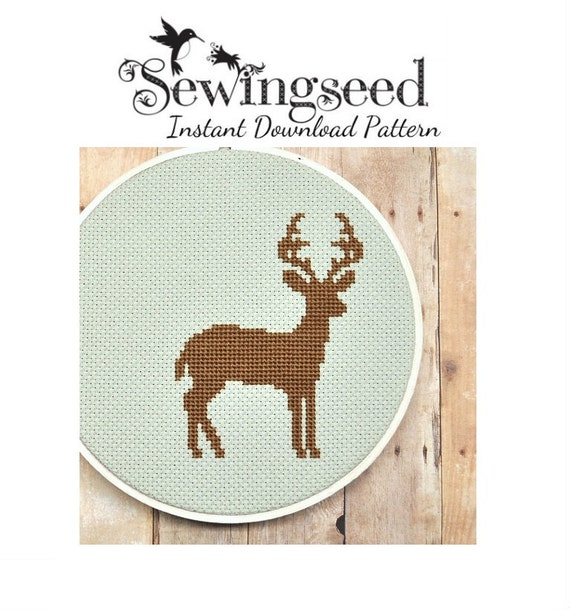 Deer Silhouette Cross Stitch Pattern Instant By Sewingseed