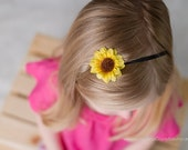 Mini Sunflower Headband...Sunflower Headband...Baby Headband...you choose clip or headband