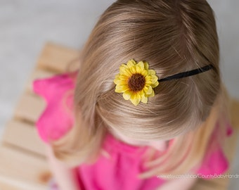 20% off when you like our Facebook page...Mini Sunflower Headband...Sunflower Headband...Baby Headband