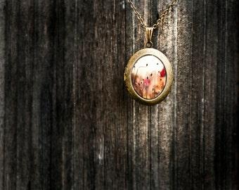 Photo Art Locket, Romantic Gift, Keepsake Locket, Red Poppy Locket for Her