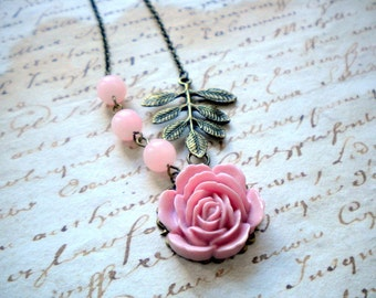 Pink Necklace Romantic Jewelry Pink Rose Necklace Pale Pink Jewelry Blush Pink Necklace Pastel Necklace Pink Flower Necklace Leaf Jewelry