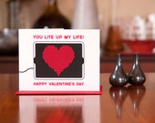You Lite Up My Life - Lite Brite Inspired Valentine Card - 100% Recycled Paper