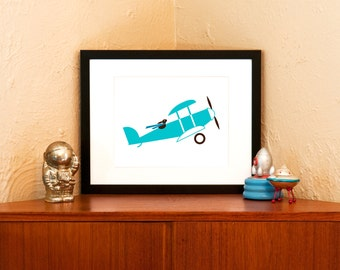 Blue Bunny Aviator 8x10 Art Print - Modern Nursery Decor on 100% Recycled Paper (Free Shipping in US)