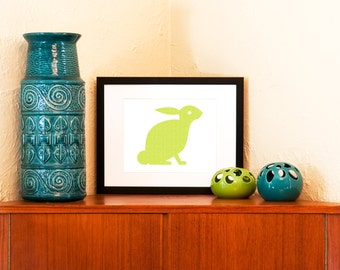 Mod Bunny Art Print in Green, Pink, or Aqua Blue - Nursery Wall Decor (Free Shipping in US)