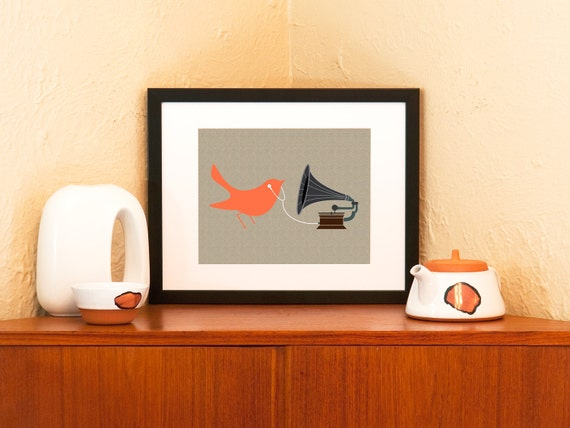 Audiophile 8 x 10 Art Print - Tangerine Bird with Gramophone and Earbuds (Free Shipping in US)