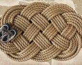 Large Rope Doormat: Nautical Sailor's Ocean Plait Celtic Knot Rug