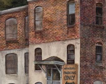 Cityscape Acrylic Painting Landscape Abandoned Building, Original Art on Canvas