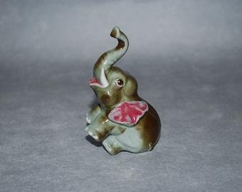 Antique Baby Elephant Figurine - 1940's Ceramic - Trunk Up - Good Luck