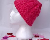 Neon Pink Spring Cable Knit Ski Hat - Winter Fashion Accessories