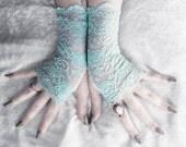 Tifara Lace Fingerless Gloves - Turquoise Pool Blue Teal Aqua Sea Green Floral - Bridal Gothic Vampire Regency Tribal Bellydance Goth Austen