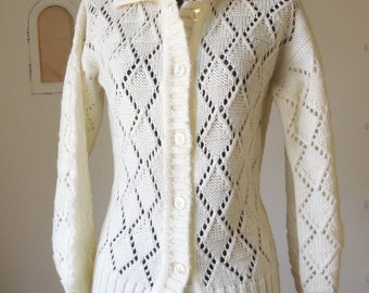 Vintage 70's Cardigan Sweater, White Cardigan, Cream, Off-White, Lacy, Open Weave, Size Small to Medium