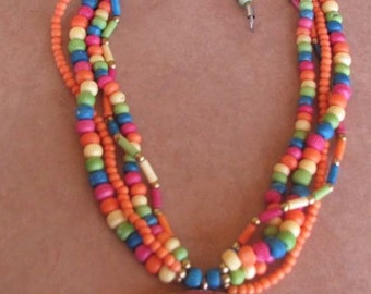 Painted wood multi strand necklace with pendant - Vintage 80s