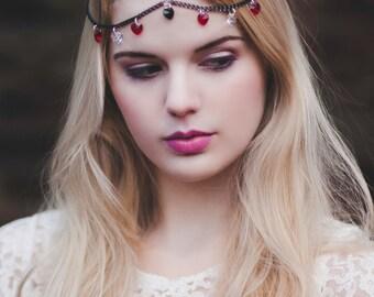 Queen of Hearts Headpiece, Chain Head Piece, Chain Headdress, Swarovski Red, Black and Clear Crystal Hairchain, Bohemian Hair Accessory