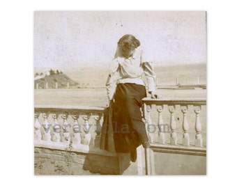 Pensive Gibson Girl By the Sea Self Portrait at San Quentin Antique Photo
