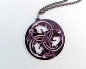 Celtic Cat Necklace - Purple - Silhouette - Unique Celtic Cat Pendant Laser Cut from Original Drawing by Laura Cesari