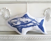 Shark Shaped Animal Pillow Hand Block Printed. Choose ANY Color. Made to Order.