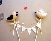 Bird Wedding Cake Topper. Romantic Bird cake topper. Tan birds on bamboo. Champagne lace bunting. Cottage chic wedding. Rustic wedding.