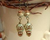 DECSALE30% OFF Owl Earrings,Rustic Czech Picasso Owl,Owl Jewelry,Bird Jewelry