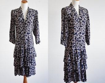 Vintage Rayon Dress, 80s Dress, Drop Waist Dress, Ruffle Dress, Dolman Sleeve, Collared Dress, Leaf Print Dress, Tiered Skirt,Bust 36 Medium