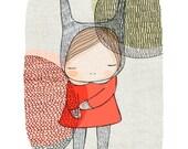 Large Art Print - Kawaii Kids Bunny Rabbit with Circles Illustration