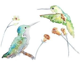 Hummingbird Print, Office Wall Art, Bird Art, Bird Watercolor Print, Office painting, hummingbird art, Hummingbird Painting, teal, green
