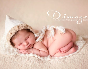 Baby Girl Bonnet, Newborn Baby Photo Prop, Vintage Inspired, Organic Colors, Creamy Pearls, Newborn Girl Photo Prop