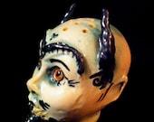 Baalberith and Belphegor Satanic Head ShaKers...handmade OOAK ceramic mini Devil salt and pepper spice shaker dolls pottery cake to