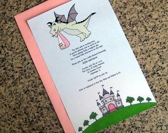 fairy tale dragon stork baby girl little princess baby shower full sized fully custom invitations with envelopes - set of 10