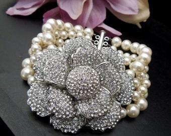 pearl rhinestone bracelet, bridal pearl bracelet, pearl and crystal Bracelet, Statement Bridal Bracelet, Wedding Rhinestone Bracelet, LOUISA