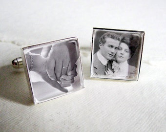 SALE! Square Custom Photo Cufflinks - Your Engagement Pictures in Silver Wedding Cuff Links for Groom or Father of the Bride